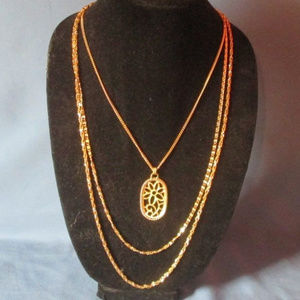 vintage gold floral pendant triple chain necklace